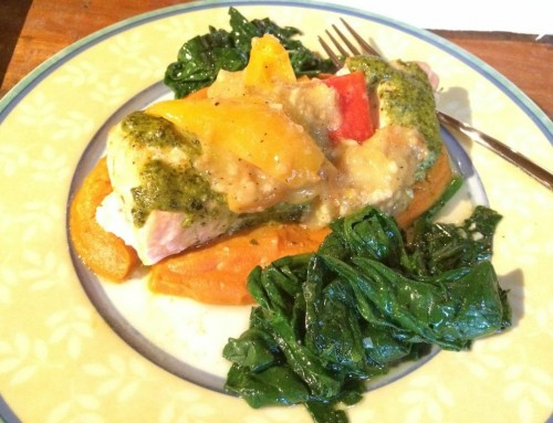 Baked Pesto Salmon Over Sweet Potato Mash